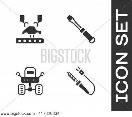 Set Soldering Iron, Robotic Robot Arm Factory, Mars Rover And Screwdriver Icon. Vector