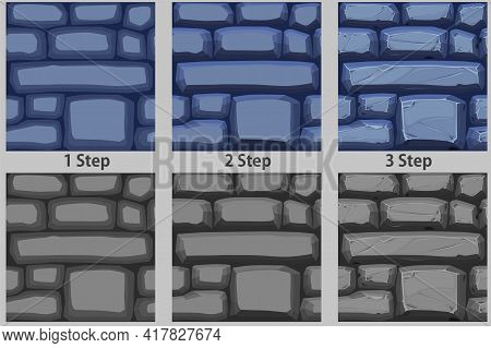 Cobble Stones Seamless Pattern, Drawing Step By Step Texture Paving Stone For Wallpaper.