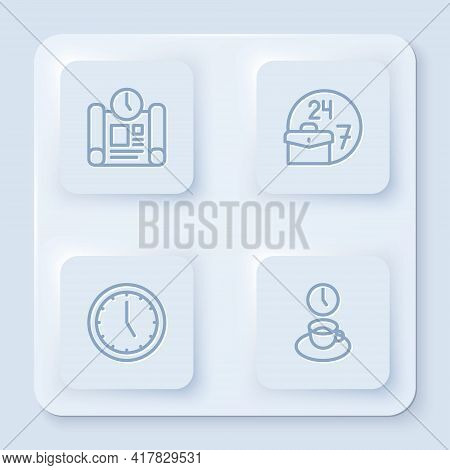 Set Line Project Time Plan, Always Busy, Clock And Coffee. White Square Button. Vector