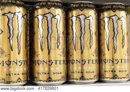 Indianapolis - Circa April 2021: Monster Beverage Display. Monster Beverage Corporation Manufactures