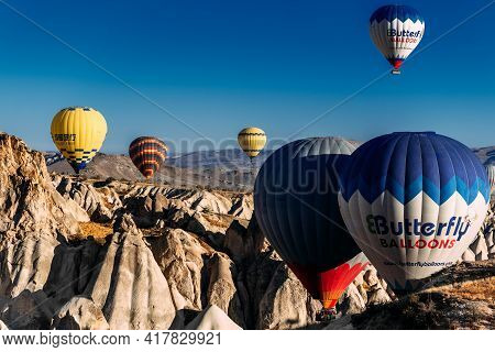 Turkey, Cappadocia - October 15, 2018: Balloons In The Sky Over Turkey At Sunrise. Colorful Balloons