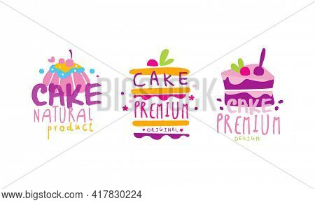 Confectionery Emblems With Sweet Cake And Sugary Dessert Vector Set