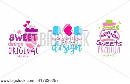 Emblems With Milkshake And Marshmallow As Sweet And Sugary Confectionery Vector Set