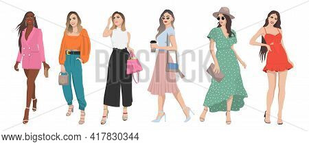 Set Of Women Dressed In Stylish Trendy Summer Spring Clothes 2021 - Fashion Street Style