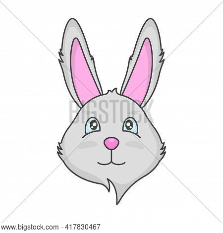 Drawing Of A Cute Muzzle Of A Gray Rabbit. Cartoon Multi-colored Image Of The Animal. Isolated Vecto