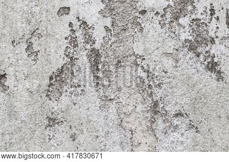 Grungy Gray Concrete Wall Texture With Damaged White Stucco And Paint. Background Photo