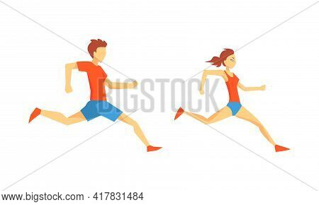 Young Male And Female Running Marathon Sprinting Forward Vector Set