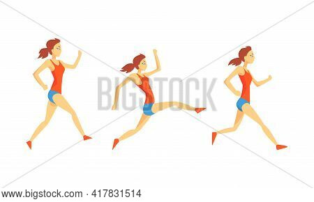 Young Female Running Marathon Sprinting Forward Vector Set