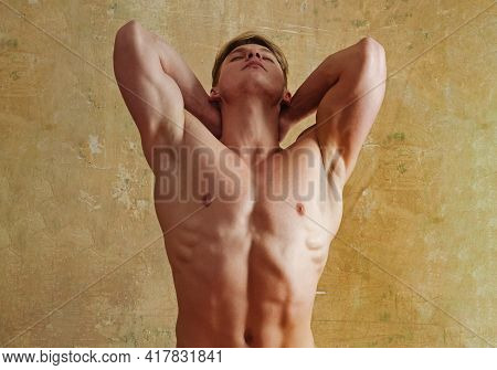 Sexy Muscular Men With Bare Naked Body Torso Posing With Strong Naked Torso, Chest, Six Pack.