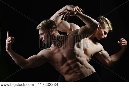 Man Strength And Power. Guys, Muscular Twin Men With Bare Torso, Six Pack In Underwear. Muscular Man