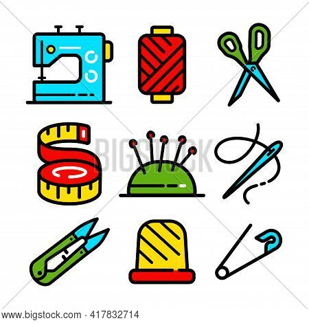 Sewing Related Icons Set. Needlework Tools Vector Editable Stroke Pictogram, Modern Color Symbols, I