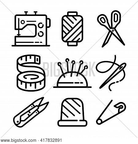 Sewing Related Icons Set. Needlework Tools Vector Editable Stroke Pictogram, Modern Outline Symbols,