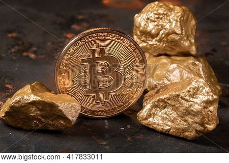 Bitcoin Cryptocurrency With Gold Nuggets. Investment And Store Of Value Concept.