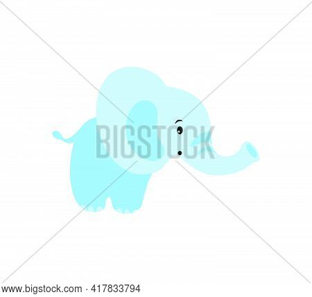 Blue Baby Elephant. Cute Flat Vector Illustration On White Background