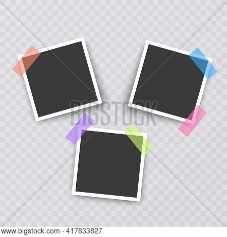 Set Of Vintage Photo Frames, Photo Realistic Photo Frame Template For Your Photos, Vector Format