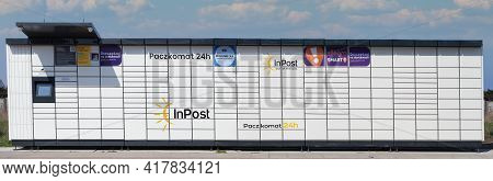 Poland, Plewiska - April 20, 2021: Electronic Locker, Automated Parcel Terminal (parcel Locker, Post