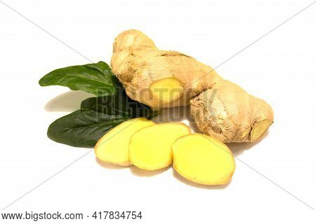 Fresh Ginger Rhizome With Ginger Slices And Fresh Green Mint Leaves. Isolated On White Background.