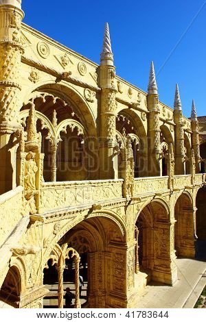 Cloister of the Jeronimos MOnastery, Lisbon, Portugal