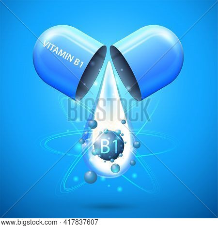 Blue Pill Capsule With Drop Of Vitamin B1. Blue Poster With Abstract Vitamin B1