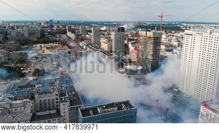 Drone View Of Smokescreen From Pyrotechnics Above People At Rondo Dmowskiego During Warsaw Uprising