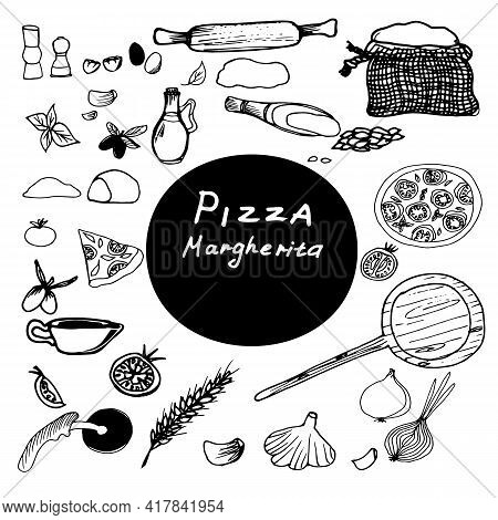 Vector Drawing Of Pizza Margarita. Recipe For A Hand-drawn Illustration.