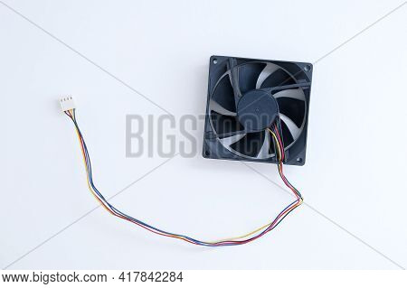 Cooler With Wires For A Personal Computer Black On A White Background.