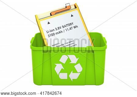 Recycling Trashcan With Cell Phone Battery. 3d Rendering Isolated On White Background