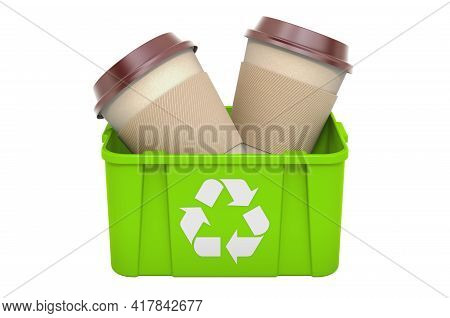 Recycling Trashcan With Disposable Cup. 3d Rendering Isolated On White Background