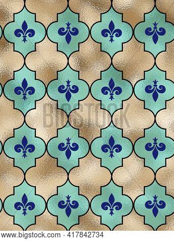 Classical Fleur-de-lis French Seamless Pattern With A Repeat Motif Lily Fleur-de-lis