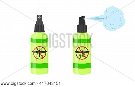 Mosquito Spray Icons. Repellent Insect Bottles With Anti Gnat Sign Isolated On White Background. Vec