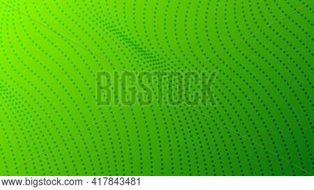 Halftone Gradient Background With Dots. Abstract Green Dotted Pop Art Pattern In Comic Style. Vector