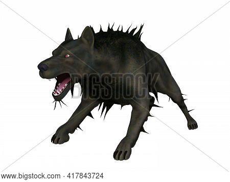 Fenrir Mythical Wolf 3d Illustration - Fenrir, Son Of Loki, Was An Symbolic Black Wolf With Immense