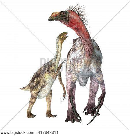 Therizinosaurus Dinosaur With Juvenile 3d Illustration - Therizinosaurus Was A Theropod Carnivorous
