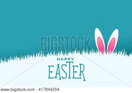 Easter Card With Bunny Rabbit Peeing Behind Grass Design Vector Illustration