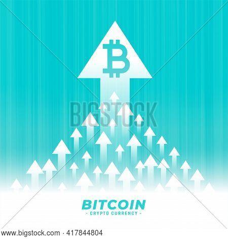 Upward Growth Of Bitcoin Concept Design With Arrow Design Vector Illustration