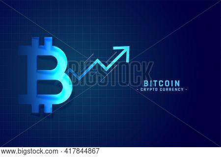 Bitcoin Growth Chart With Upward Arrow Design Vector Illustration