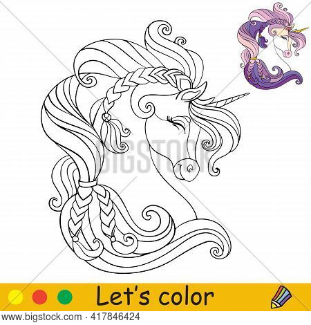 Cute Head Of Unicorn In Profile. Coloring Book Page With Colorful Template. Vector Cartoon Isolated