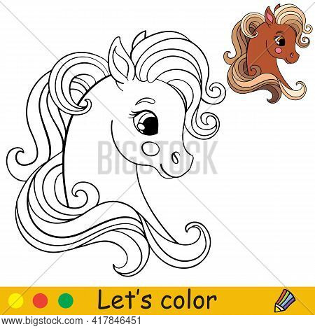 Cute Head Of Pony In Profile. Coloring Book Page With Colorful Template. Vector Cartoon Isolated Ill