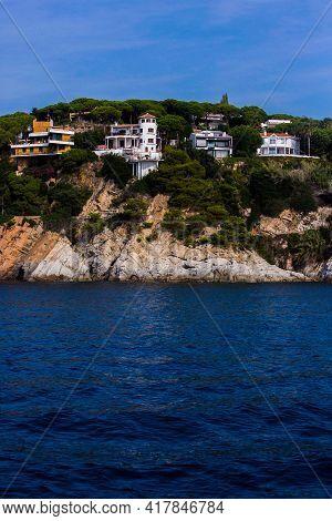 Lloret De Mar, Spain, May 1, 2020 - Private Villas On High Costa Brava Rocky Coast. Mediterranean Ar