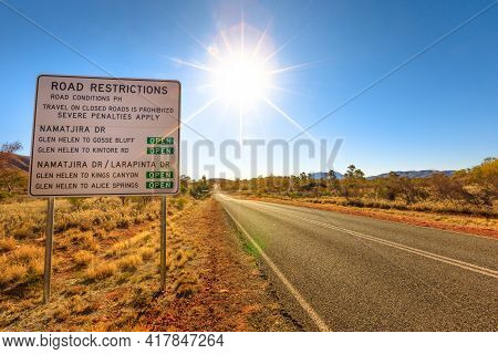 Northern Territory, Australia Outback. Road Restriction And Road Condition Of Larapinta Drive And Na