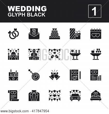 Icon Set Wedding Made With Glyph Black Technique, Contains A Couple Ring, Invitation, Gift, Souvenir