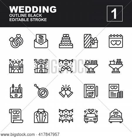 Icon Set Wedding Made With Outline Black Technique, Contains A Ring, Invitation, Gift, Souvenir, Car