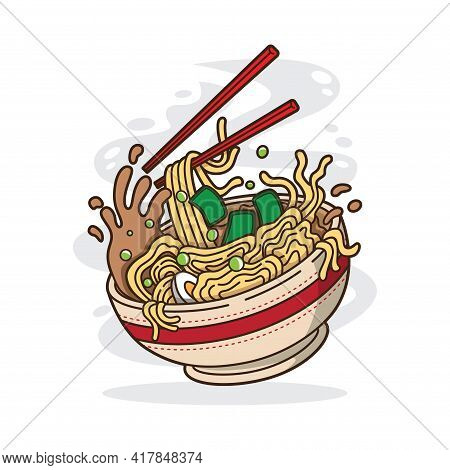 Vector Illustration Of Delicious Japanese Ramen Noodle On Bowl With Flat Style