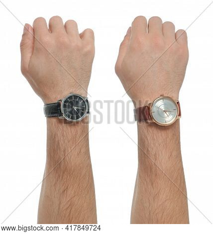 Collage With Photos Of Men Wearing Wristwatches On White Background, Closeup