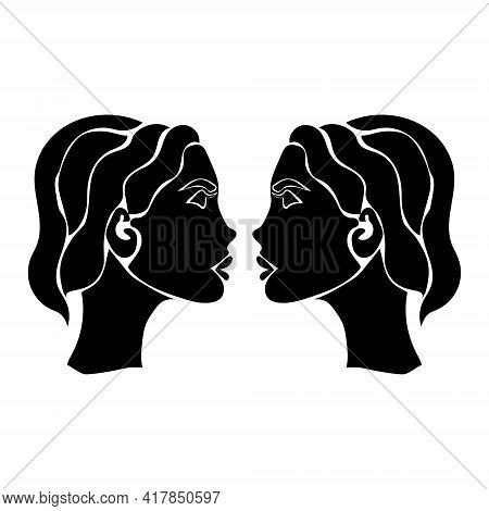 Zodiac Sign Gemini Silhouette, One Of 12 Horoscope Signs Vector Illustration