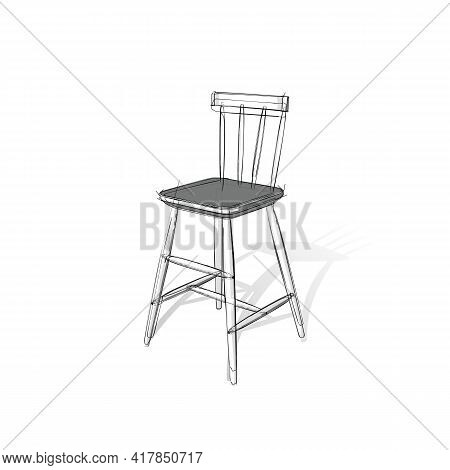 Technical Drawing Of A Bar Stool In An Architectural Style. Schematic Vector Illustration On White B