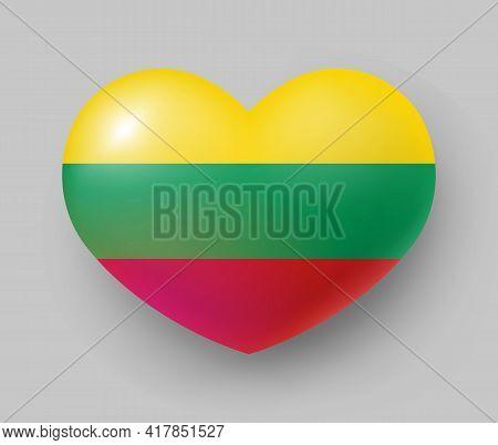 Heart Shaped Glossy National Flag Of Lithuania. European Country National Flag Button, Lithuanian Sy
