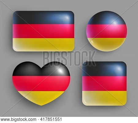 Glossy Buttons With Germany Country Flags Set. European Country National Flag Shiny Badges Of Differ