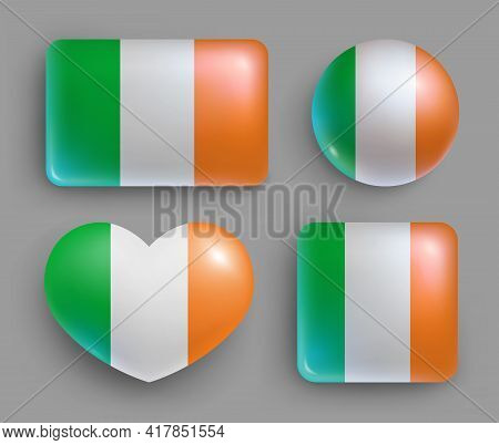 Glossy Buttons With Ireland Country Flags Set. European Country National Flag Shiny Badges Of Differ