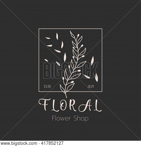 Vector Hand Drawn Of Flower Logo Template For Labels, Logos And Badges For Health Care,florist, Phot